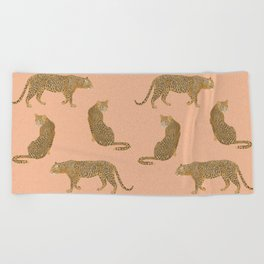 sunset leopards Beach Towel