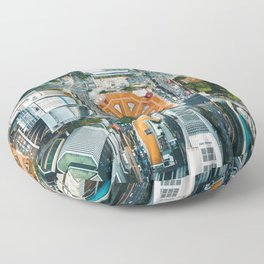 Aerial Cityscape View (Color) Floor Pillow