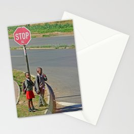 on the way to school Stationery Cards