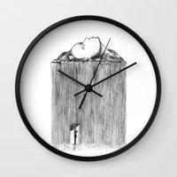 rain Wall Clocks featuring rain by Gerard Russo