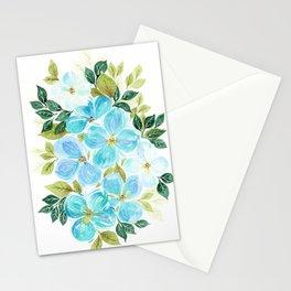 Meraki Cobalt Teal Floral Stationery Cards