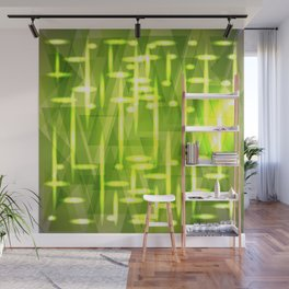Glowing night geometry of gold and green cosmic stripes and extreme lines. Wall Mural