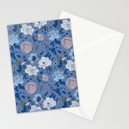 Lovely Seamless Floral Pattern With Subtle Poodles (Hand Drawn) Stationery Cards