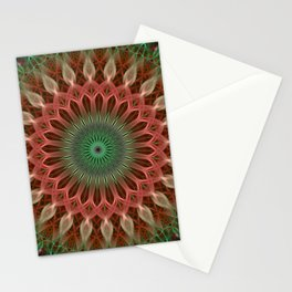 Mandala with green and red ornaments Stationery Cards
