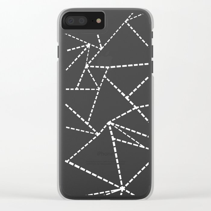 Abstract Dotted Lines White on Black Clear iPhone Case