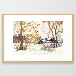 Late Autumn. First Snow. Rural Landsape. Birches Framed Art Print