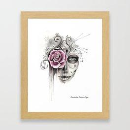 Rose Sugar Skull Framed Art Print