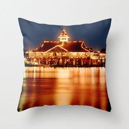 Golden Glow from the Balboa Pavillion, Newport Beach Throw Pillow
