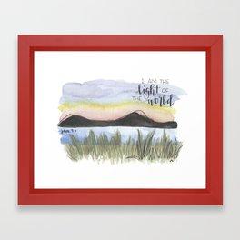 I am the light of the world // watercolor bible verse john Framed Art Print