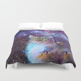 Proud Cat With Space Background                                                                   Duvet Cover