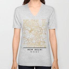 NEW DELHI INDIA CITY STREET MAP ART Unisex V-Neck