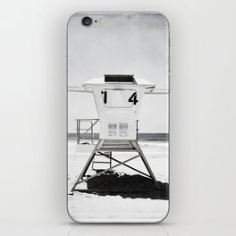 Black and White Beach Photography, Grey Lifeguard Stand, Gray Coastal Nautical Art iPhone Skin