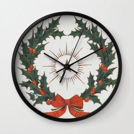 Vintage Christmas Greetings Wreath (1906) Wall Clock