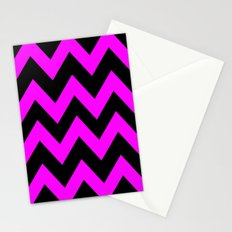 Black & Pink Chevron Lines  Stationery Cards