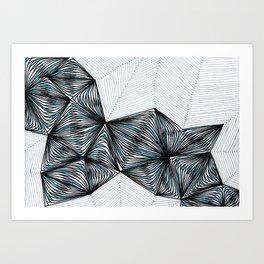 Geometric tringular net Art Print