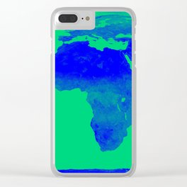 World Map Green & Blue Clear iPhone Case