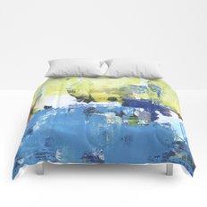 Parakeet Blue Yellow Abstract Art Comforters