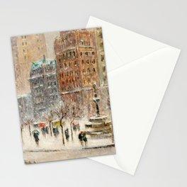 Winter at the Plaza, New York City landscape by Guy Carleton Wiggins Stationery Cards