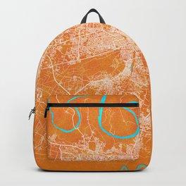 Agra, Uttar Pradesh, India, Gold, Blue, City, Map Backpack