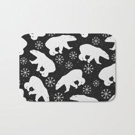 Polar Bears and Snowflakes - black Bath Mat