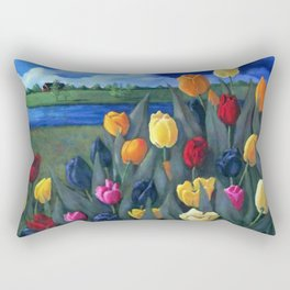 Dutch Tulips, Bright Colorful Flower Painting Rectangular Pillow