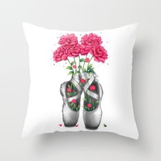 Pointe with pink peonies Throw Pillow