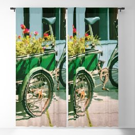 Painting of a Vintage Tricycle with a Flower-Filled Basket in the Back Blackout Curtain