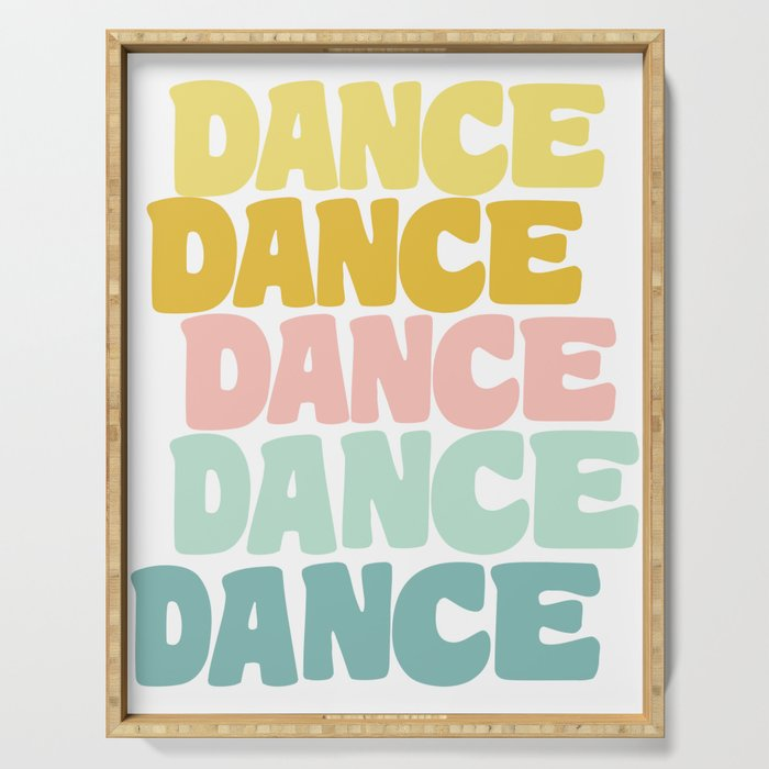 Dance in Candy Pastel Lettering Serving Tray