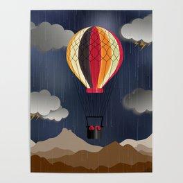 Balloon Aeronautics Rain Poster