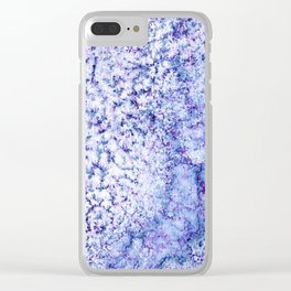 Ice Blue Crackle Marble Watercolor Texture Clear iPhone Case