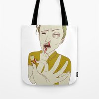 tooth Tote Bags featuring TOOTH by Anna Wanda Gogusey