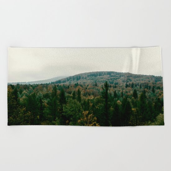 Early autumn, colorful forest and mountains Beach Towel