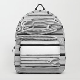 dock, black and white Backpack