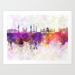 Lahore skyline in watercolor background Art Print