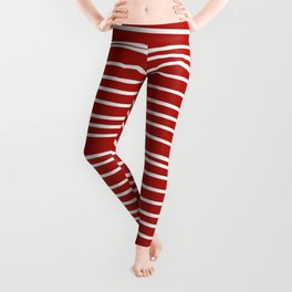 Red & White Maritime Hand Drawn Stripes- Mix & Match with Simplicity of Life Leggings