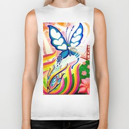 """SF Butterfly"" by Adam France Biker Tank"