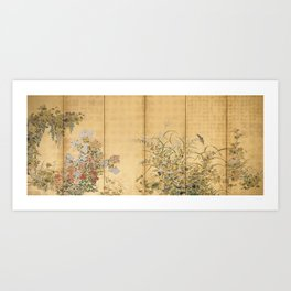 Japanese Edo Period Six-Panel Gold Leaf Screen - Spring and Autumn Flowers Art Print