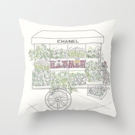 Flower Cart with Cats Black & White Throw Pillow