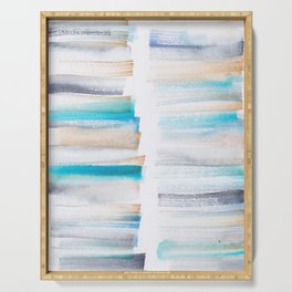 18  | 181101 Watercolour Palette Abstract Art | Lines | Stripes | Serving Tray