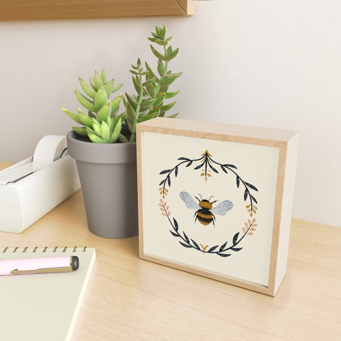 Ode to the Bumblebee (in cream) Framed Mini Art Print
