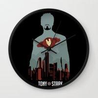 tony stark Wall Clocks featuring Tony Stark by offbeatzombie