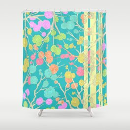 Bright Cherry Blossom Stripe Shower Curtain