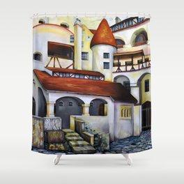 Dracula Castle - the interior courtyard Shower Curtain