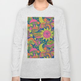 Psychedelic Daydream in Neon + Blue Long Sleeve T-shirt