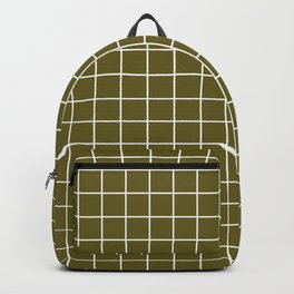 Antique bronze - green color - White Lines Grid Pattern Backpack
