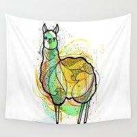 llama Wall Tapestries featuring Llama by Nemki