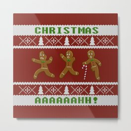 Ugly Christmas Sweater Scared Gingerbread Men Red Metal Print