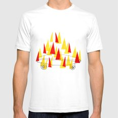 Flaming Skateboard SMALL Mens Fitted Tee White