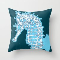 sea horse Throw Pillows featuring Sea horse by Thom Deer