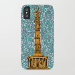 Siegessäule Drawing Meditation - Blue iPhone Case